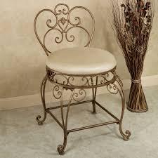 inspiration bathroom vanity chairs:  elegant unfinished teak bathroom stool with white fabric cushioned seat for bathroom stool
