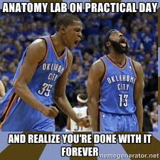 Anatomy lab on practical day and realize you're done with it ... via Relatably.com