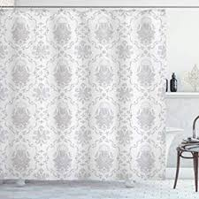 Ambesonne Grey Shower Curtain, <b>Classic</b> Victorian <b>Floral Patterns</b>