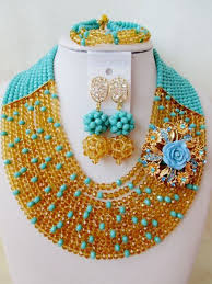 fashion mix teal and blue wedding statement necklace set 2017 nigerian bridal crystal jewelry free shipping wd960