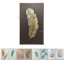 Big Size <b>Modern</b> Hand Painted <b>Feathers</b> Canvas <b>Oil Painting</b> Picture ...