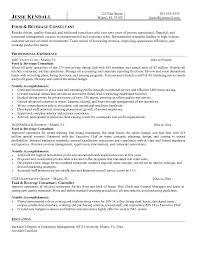 example food  amp  beverage consultant resume samplesample resume