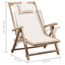 vidaXL <b>Bamboo Outdoor</b> Garden <b>Deck Chair</b> - Buy Online in ...