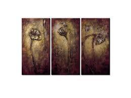 Wieco Art - <b>Bronze</b> Elegance <b>Modern</b> Floral Artwork <b>100</b>% Hand ...