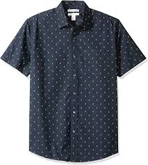 Amazon Essentials <b>Men's</b> Regular-fit <b>Short</b>-<b>Sleeve Print Shirt</b>
