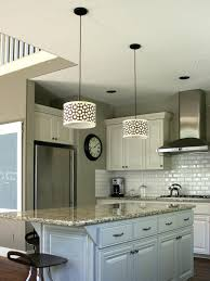 white brown accent acrylic drum shade over light blue used wood island in modern kitchen interior appealing pendant lights kitchen
