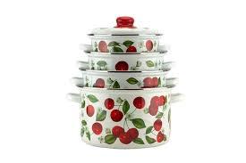 <b>Набор эмалированной посуды</b> Вишневый сад с металлической ...