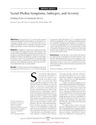 social phobia symptoms subtypes and severity anxiety disorders first page pdf preview