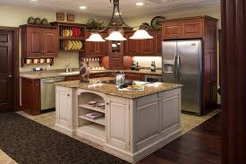 countertops dark wood kitchen islands table:  table top pendant lighting kitchen open shelvses rack wall mounted dark cabinets color schemes biege stone flooring tiled white backsplashes