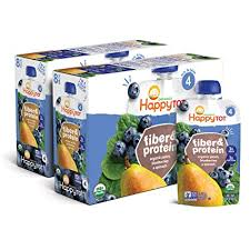 <b>Happy Tot</b> Organic Stage 4 <b>Fiber & Protein</b>, Pears, Blueberries ...