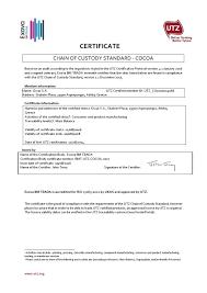 oscar chocolates certifications utz certificate