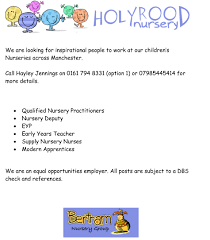 job vacancies holyrood nursery mediacity job advert