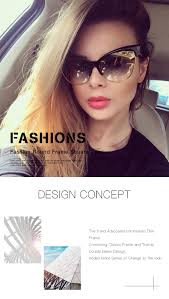 <b>WFEANG</b> Fashion Brand Designer Cat Eye Sunglasses Women ...