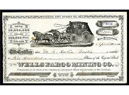 wells fargo mining co stock certificate racing stage wells fargo mining co 1880 stock certificate racing stage coach