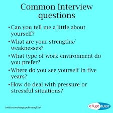 eagetutor spoken english training linkedin preparing for an interview below are some common interview questions prepare these questions and answer them a gentle smile