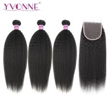 <b>Yvonne Kinky Straight</b> Human Hair Bundles With Closure 3 Bundles ...