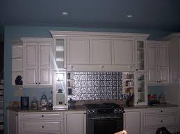 metal backsplash wall cabinet lighting interior blue white kitchen decoration using white wood kitchen cabine