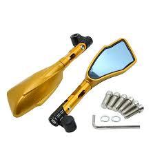 Pair Gold Tone 8mm 10mm <b>CNC Motorcycle Motorbike Rearview</b> ...