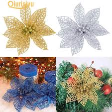 <b>5Pcs Glitter</b> Hollow <b>Artificial</b> Christmas Flower Ornament-buy at a ...