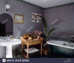 washstand bathroom pine: stock photo white pedestal basin and old pine washstand in grey bathroom