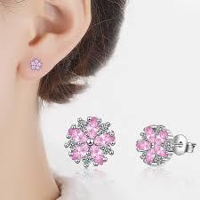 <b>TJP</b> Lovely Pink Flower Style Women Engagement Earrings Top ...