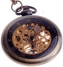 Hand Wind Mechanical Skeleton Pocket Watch <b>Roman</b> Numerals ...