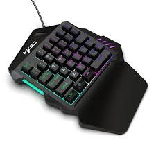 HXSJ V100-2 35 Keys <b>One</b>-<b>Handed Wired Keyboard</b> LED Backlight ...