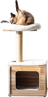 Catry, Wooden Cat Tree Condo with Natural Sisal ... - Amazon.com