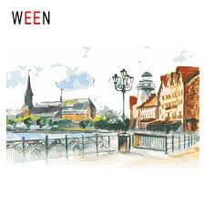 2019 <b>WEEN Town Diy</b> Painting By Numbers Abstract Street Oil ...