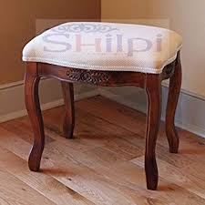 Shilpi Beautiful Hand Carving Vanity Cushioned Top <b>Stool</b> / <b>Solid</b> ...