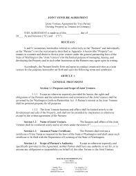 sample joint venture agreement template business agreement sample letter