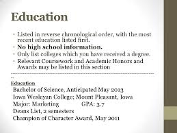 resume list education in what order education section in resume resume