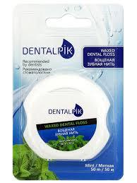<b>Dentalpik Зубная нить</b> мятная <b>Floss</b> Mint Waxed (вощеная), 50 м ...