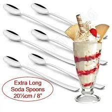 4x <b>Stainless Steel Ice Cream</b> Sundae Spoons <b>Desserts</b> Latte Coffee ...