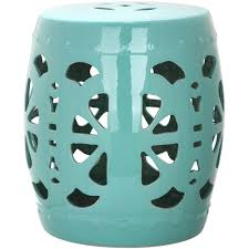 patio stool: stencil blossom aqua garden patio stool