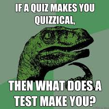 If a quiz makes you quizzical, then what does a test make you ... via Relatably.com