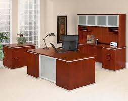 pimlico cherry veneer executive office consisting of double ped desk credenza hutch with glass cherry office furniture