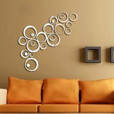 mirror wall decor circle panel: round mirror wall art makipera new hot creative silver tone d mirror effect font b wall b font sticker round font