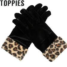 <b>2019</b> Women Black <b>Velvet</b> Leopard <b>Gloves</b> Korean Fashion Elegant ...