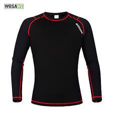 <b>WOSAWE Men's</b> Women's Long Sleeve Black / Red Bike Base layer ...