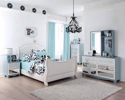 f fascinating teen bedroom decorating ideas with light blue curtains windows and white polished wood bed frame using sweet bedding also terrific mirrored blue kids furniture