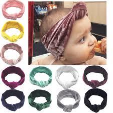 Cute <b>Baby</b> Girl Big Bow Velvet <b>Headband 11 Colors</b> Turban Knotted ...