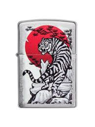 <b>Зажигалка Asian</b> Tiger с покрытием Brushed Chrome <b>Zippo</b> ...
