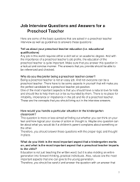 job interview questions and answers for a preschool teacher job interview questions and answers for a preschool teacher documents