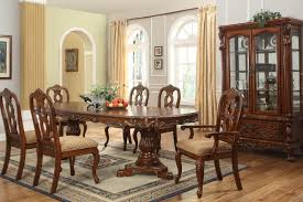 dining table parson chairs interior: pedestal dining table by broyhill furniture with classic parson dining chairs and beige grommet curtains plus