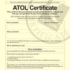 holidaymakers to be given atol certificates