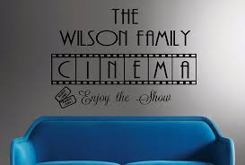 wall decal family art bedroom decor family cinema vinyl wall decal personalized wall quotes movie room decor cinema film art wall sticker bedroom home decoration in wall stickers from home