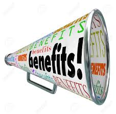 the word benefits on a bullhorn or megaphone to illustrate stock photo the word benefits on a bullhorn or megaphone to illustrate features and beneficial qualities of a job compensation plan or product