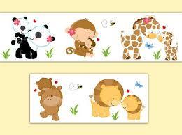safari animal decal wallpaper border baby nursery wall art sticker kids girl boy neutral jungle room baby nursery cool bee animal rocking horse