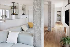 fabulous white painted home living room with concrete beautiful living room pillar